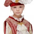 Girl with carnival costume musketeer. — Stock Photo