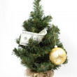 Christmas tree decorated with dollar bill and toy ball — Стоковая фотография