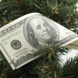 One hundred dollars bill on a Christmas tree close up — Foto de Stock