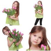 Коллаж изображений маленькая девушка с тюльпанами — Стоковое фото