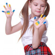 Happy little girl with hands painted as ukrainian flag — Stock Photo