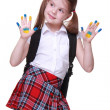 Happy little girl with hands painted as ukrainian flag — Stock Photo #24698377