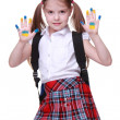 Happy little girl with hands painted as ukrainian flag — Stock Photo #24698389