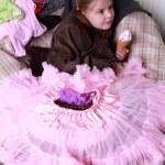 Cute little girl eating the ice cream — Stock Photo #24699381