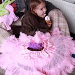 Cute little girl eating the ice cream — Stock Photo #24699451