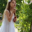 Girl blows soap bubbles — Stock Photo #25557931