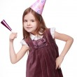 Cheerful kid girl on Holiday party Studio portrait of pretty joyful kid girl on birthday party — Stock Photo