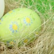 Easter colored eggs painted with figures in a basket of straw on green background — Stock Photo