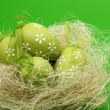 Green egg with a pattern in the Easter basket — Stock Photo