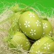 Green egg with a pattern in the Easter basket on Holiday — Stock Photo