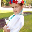 Smiling little girl in a bright national costume Ukraine is on the background of green grass in the summer park — Stock Photo