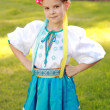 Cute little girl in Ukrainian traditional costume — Stock Photo