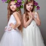 deux belles petites filles en robes blanches et des coiffures de clématites fraîches — Photo