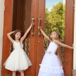 Two charming little girls in long white dresses stand near the mirrored doors of the building outdoors — Stock Photo #27006505