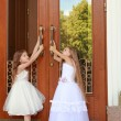 Two charming little girls in long white dresses stand near the mirrored doors of the building outdoors — Stock Photo #27006535