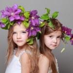 deux belles petites filles en robes blanches et des coiffures de clématites fraîches — Photo #27007073