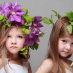 deux belles petites filles en robes blanches et des coiffures de clématites fraîches — Photo #27007101