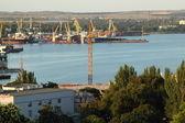 Kerch sea port top view — Stock Photo