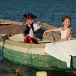 Beautiful little kids play pirates — Stock Photo #29236983