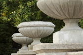 Stone vase decoration handrail stairs — Photo