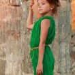 Beautiful young Greek goddess in emerald green vintage dress  — Stock Photo