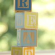 Alphabet for easy learning at a young age. Kids wooden blocks spelling — Stock Photo #29419665