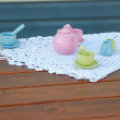 Children's ceramic tableware for playing tea party — Stock Photo