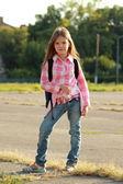 Happy Schoolgirl Outdoor — Foto de Stock