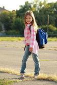 Happy Schoolgirl Outdoor — Stock Photo