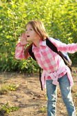 Happy Schoolgirl Outdoor — Stock Photo