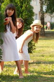 Young girls walking in the park — Stock Photo