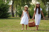 Girls in the park with a picnic basket — Photo