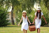 Two beautiful positive young girl — Stock Photo