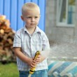 Cute little blond boy in summer clothes — Stock Photo