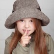 Portrait of little girl in stylish autumn hat — Stock Photo #31049329