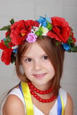 Beautiful girl with traditional costume of Ukraine — Stock Photo