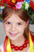 Beautiful little girl with traditional costume of Ukraine — Foto de Stock