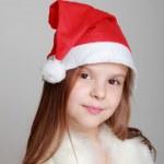 Girl in Santa's hat — Stock Photo