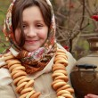 Stock Photo: Girl in russitraditional kerchief