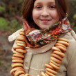Girl in russivillage traditional kerchief — Stock Photo #34627441