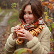 Girl in russivillage traditional kerchief — Stock Photo #34627639