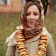 Little girl in russitraditional kerchief — Stock Photo #34627801