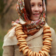 Girl in russitraditional kerchief — Stock Photo #34627849