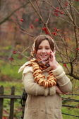 Girl in russian traditional kerchief — Stock Photo