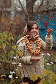Girl in russian village traditional kerchief — Foto Stock