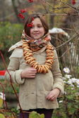 Girl in russian village traditional kerchief — Stock Photo