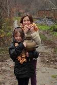 Little girl in russian village — Stock Photo