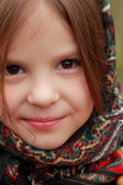 Little girl in russian traditional kerchief — Stock Photo