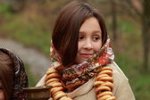 Young girls at autumn lanscape — Stock fotografie