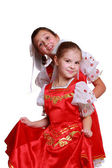 Girls in Russian national dress — Stock Photo